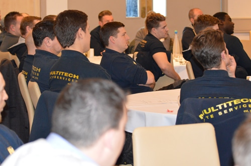 Multitech Site Services Temporary Electrics Electricians Captivated by a Presentation from Ken Woodward OBE